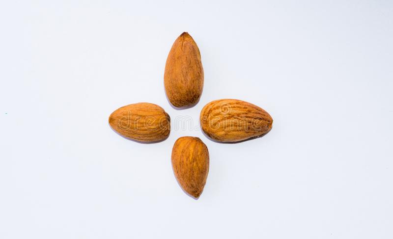 Close up of  brown almonds seeds isolated on white background royalty free stock images