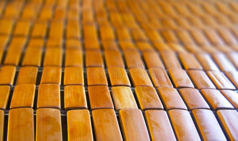 Close up brown bamboo table cloth in perspective view royalty free stock photos