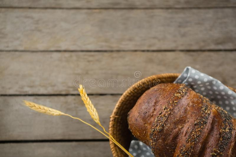 Close up of brown bread in basket stock images