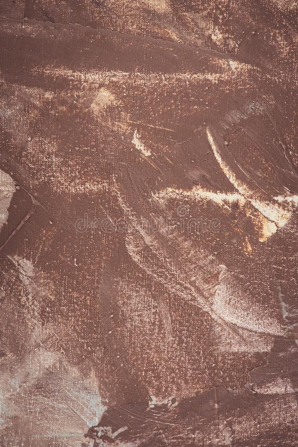 Close up of brown brush strokes on abstract. Background stock image