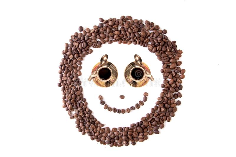 Close up brown coffee bean smiley grains, isolated on white. Background stock image