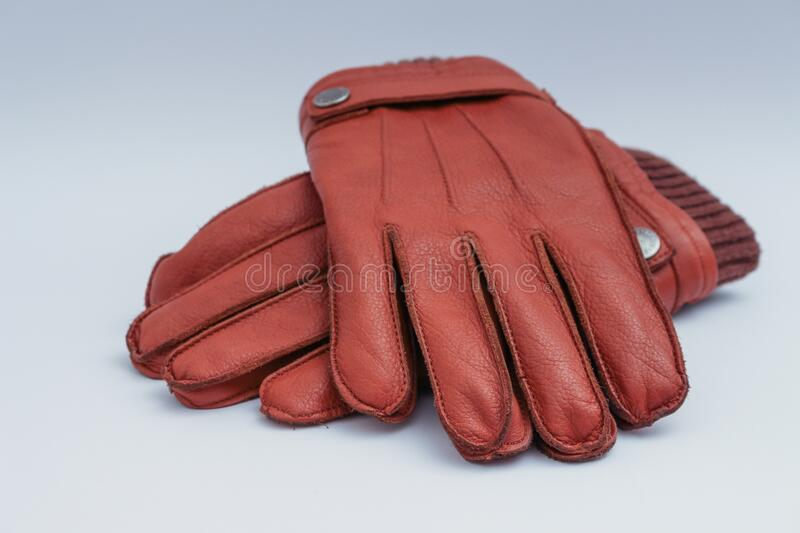 Close up of brown gloves royalty free stock photo