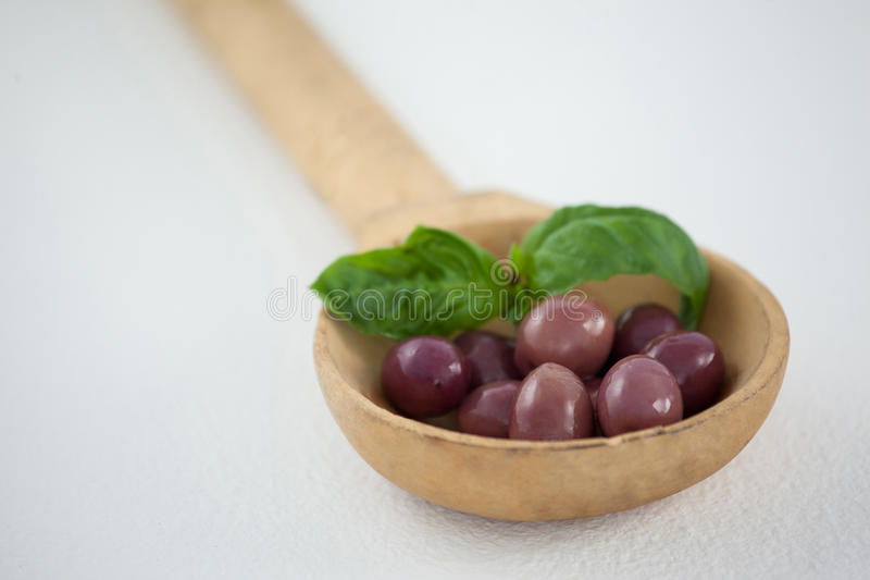 Close up of brown olives with herb in wooden ladle royalty free stock image