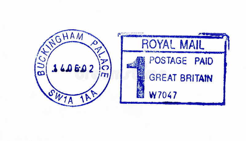 Close up of Buckingham Palace postmark. Close up of official post office postmark on the envelope of Buckingham Palace, residence of Queen of United Kingdom royalty free stock photo