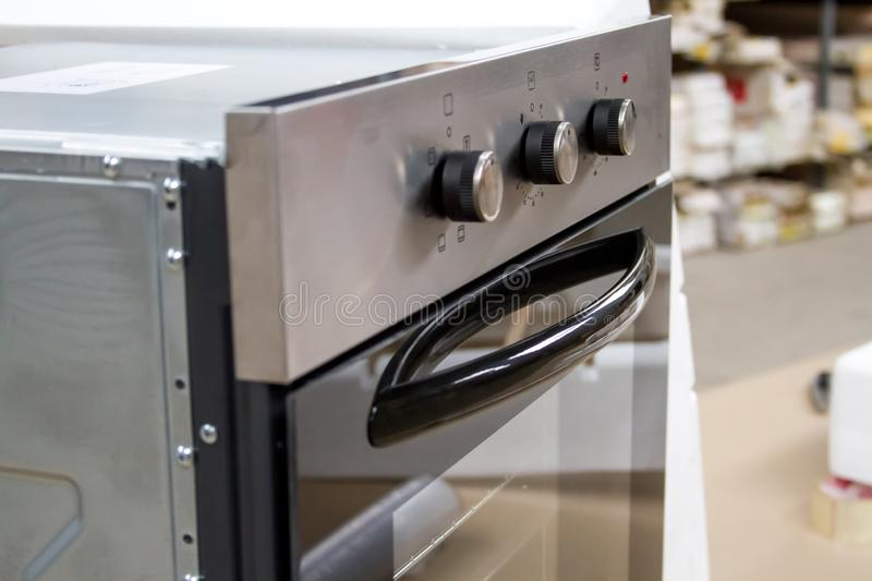 Close-up built-in electric oven in the store before installation royalty free stock photography