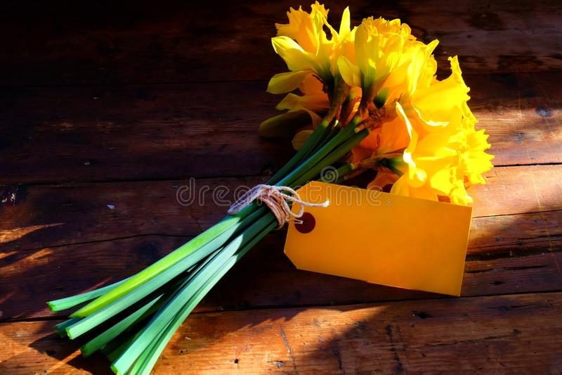 close up of a bunch of yellow daffodils tied together with string and a yellow blank tag royalty free stock image