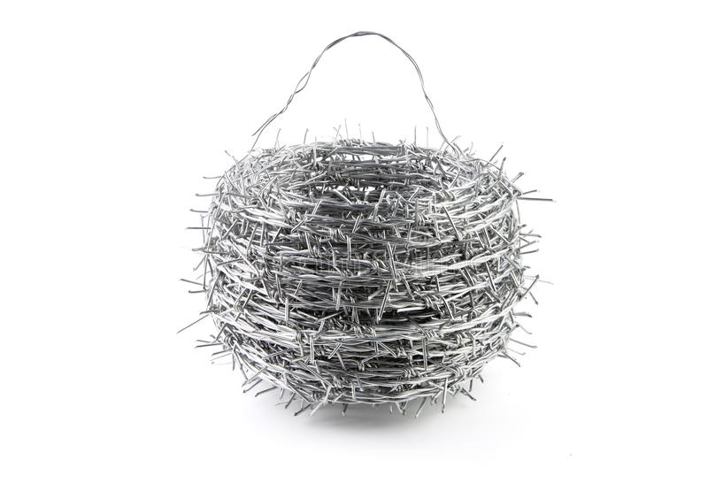 A bundle of Galvanized Barbed Wire. royalty free stock image