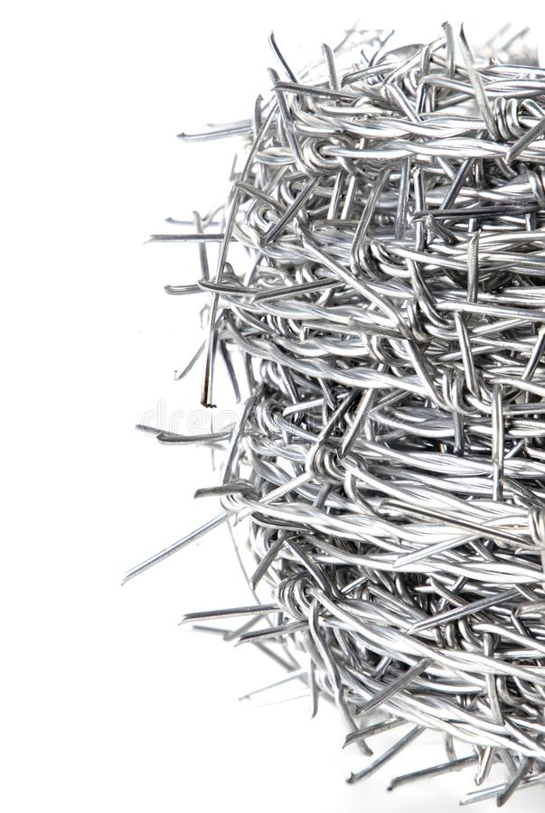A bundle of Galvanized Barbed Wire. royalty free stock photos