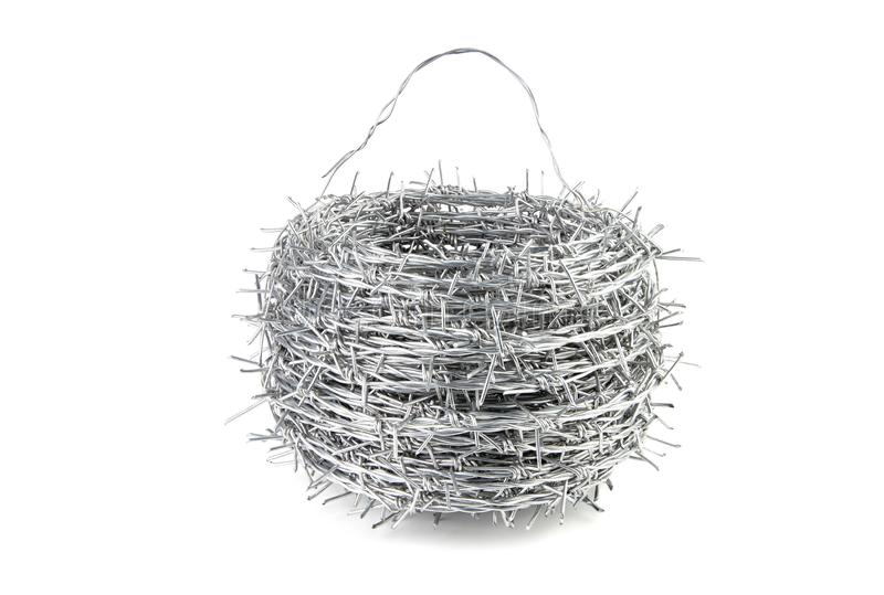 A bundle of Galvanized Barbed Wire. stock image