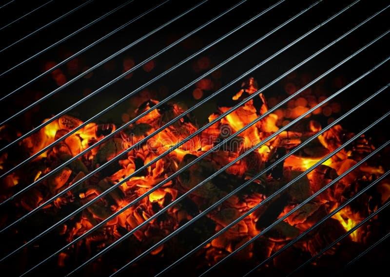 Closeup of burning coals stock photography