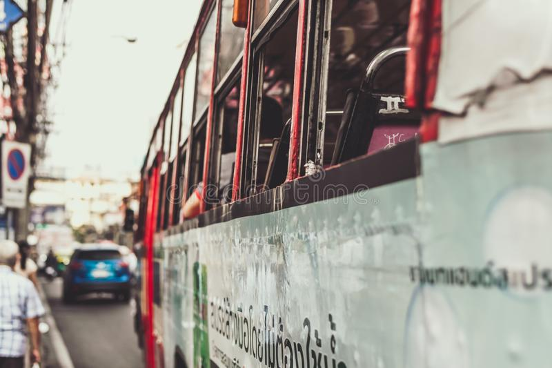 Close up of the bus in Bangkok city, Thailand. stock image