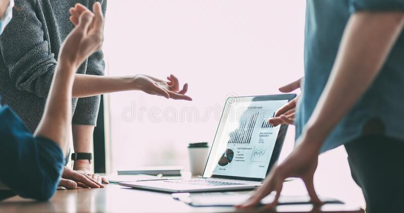 Close up. business colleagues discussing financial data. royalty free stock photography