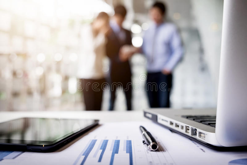 Close-up of business document in touchpad lying on the desk, off royalty free stock photo