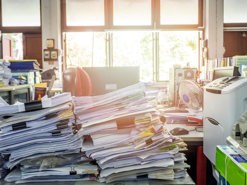 Close up of business documents stack on desk. Report papers stack stock photos