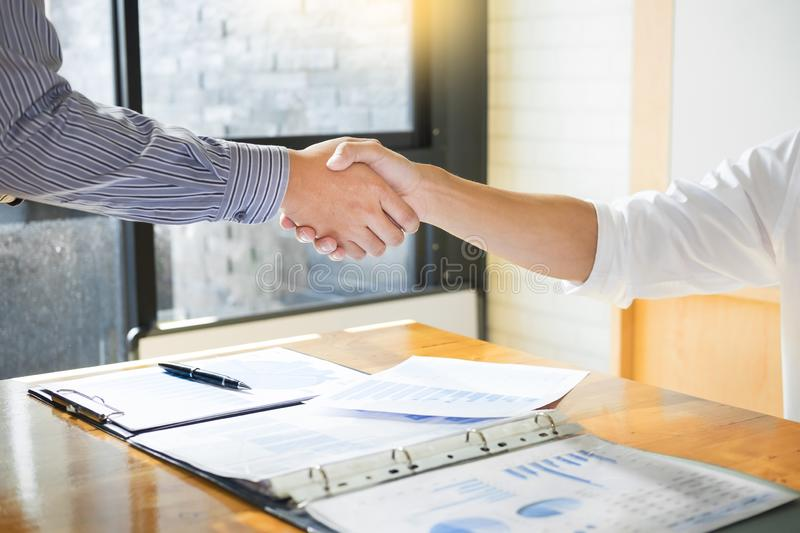 Close up of a business handshake, finishing up a meeting acquisition Greeting Deal concept. Close up of a business handshake finishing up a meeting acquisition royalty free stock photography