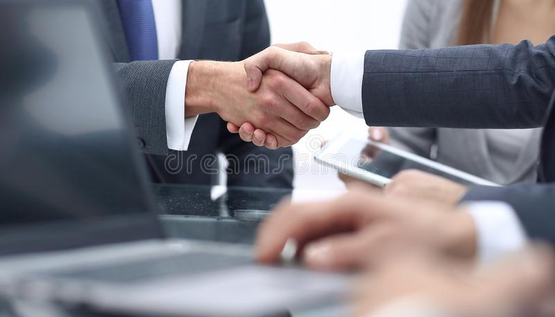 Close-up of business handshake.panoramic photo royalty free stock photo