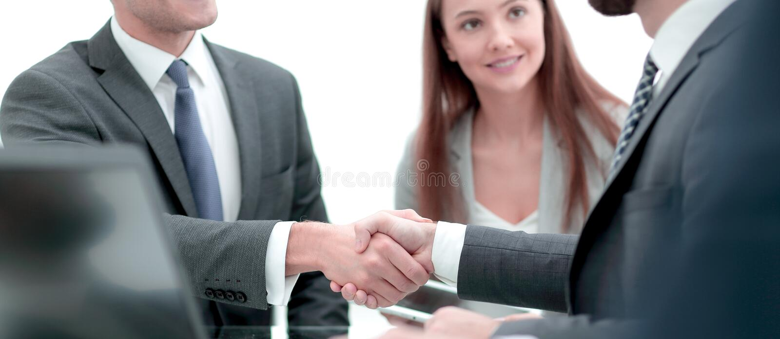 Close-up of business handshake.panoramic photo royalty free stock photography