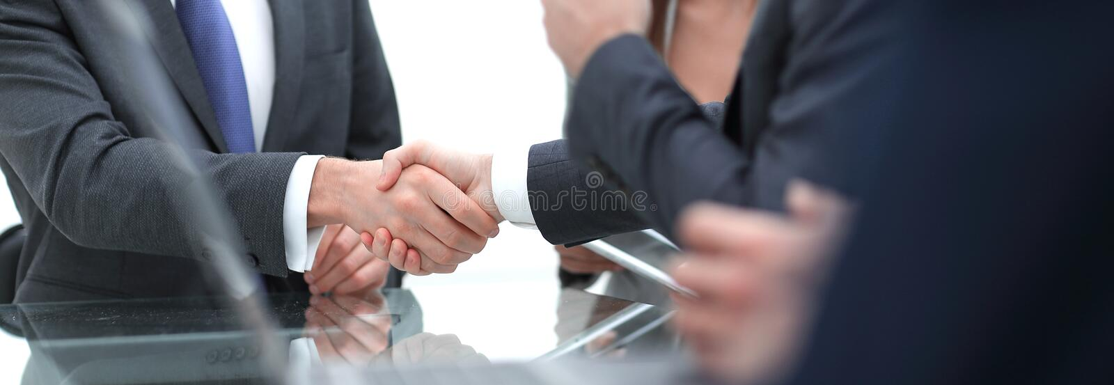 Close-up of business handshake.panoramic photo stock photography