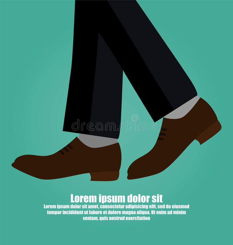 Close-up Of Business Man With Leather Shoes Walking Isolated On royalty free illustration