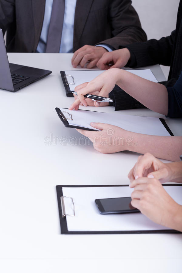 Close-up of business meeting. In a company stock photography