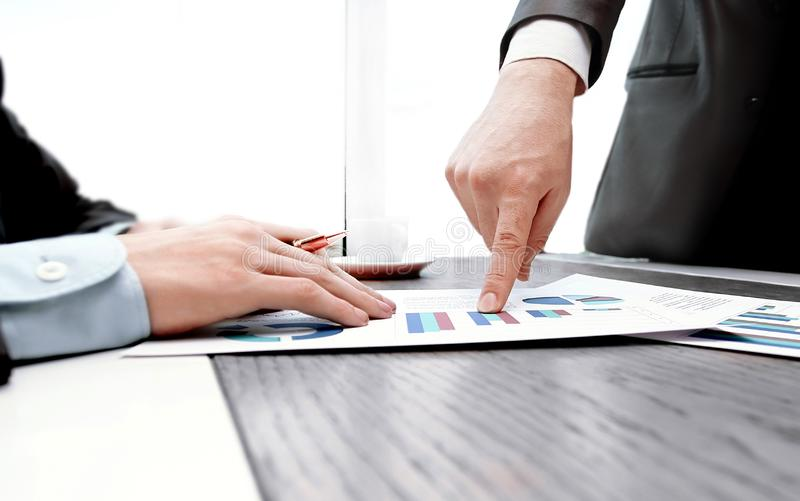 Close up.business partners discussing financial project. photo with copy space stock photo