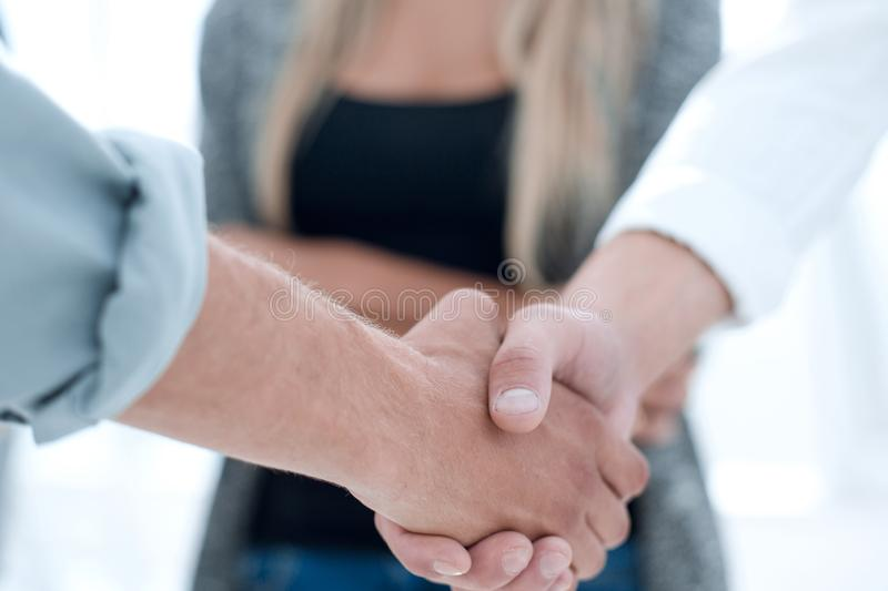 Close-up of business partners shaking hands in a meeting royalty free stock images