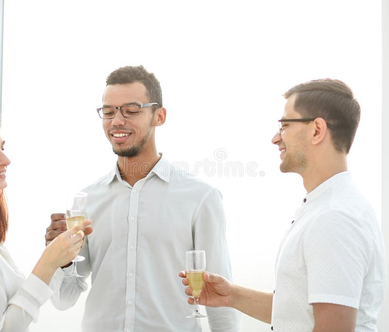 Close up.the business team celebrates the successful start of a new project. stock photo