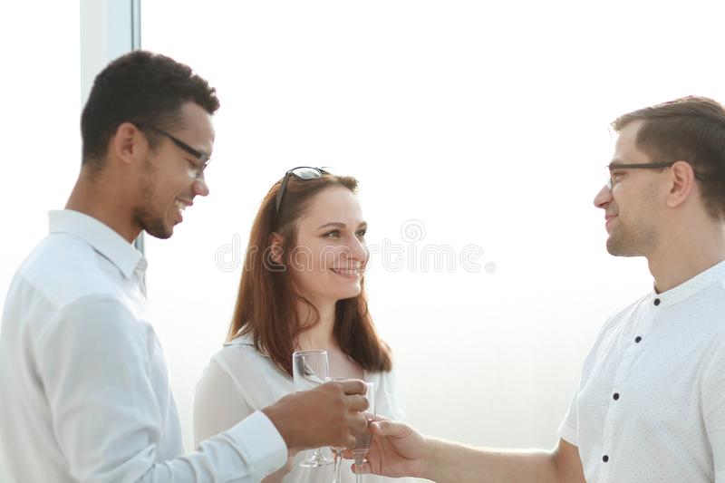 Close up.the business team celebrates their success. The concept of a successful startup royalty free stock photo