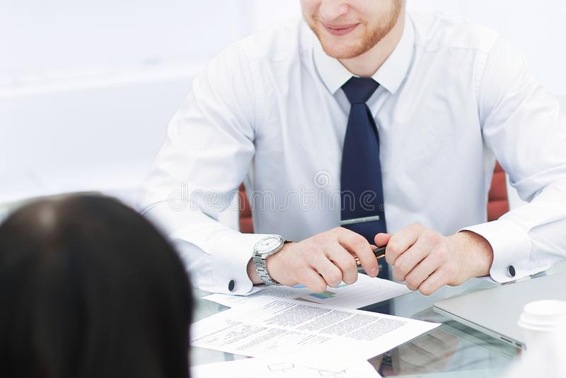 Close up.the business team discusses the financial statement. Teamwork royalty free stock image