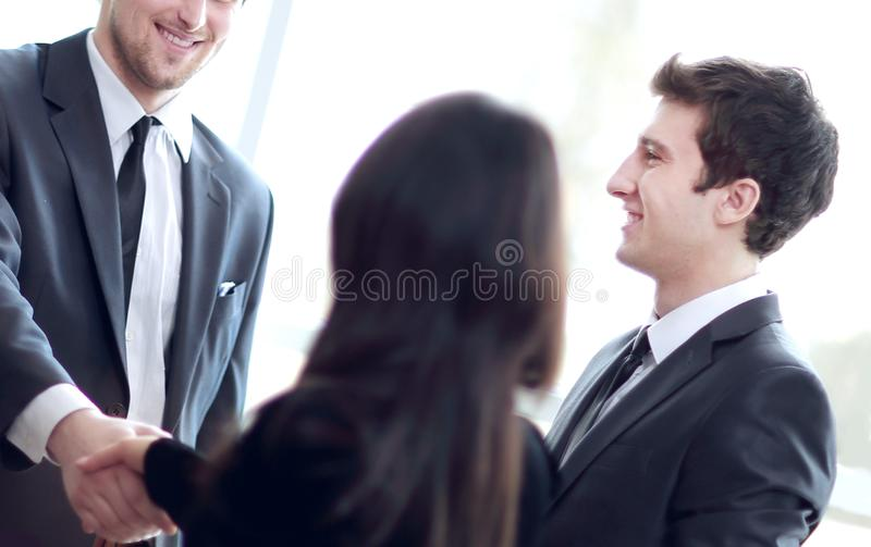 Close up.business team and handshake business partners stock photography