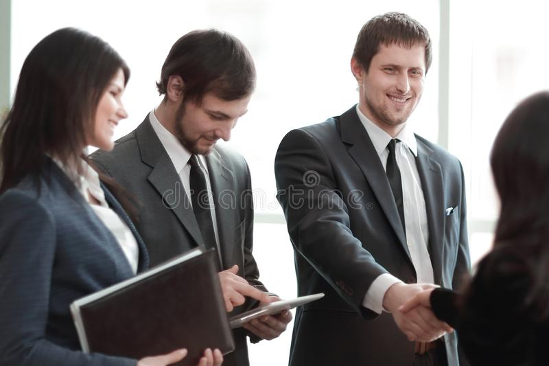 Close up.business team and handshake business partners royalty free stock image
