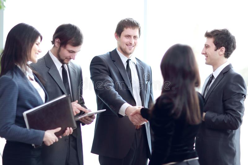 Close up.business team and handshake business partners stock image