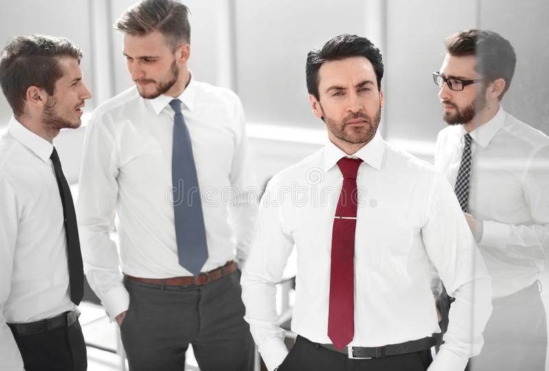 Close up.business team standing in the office. royalty free stock images