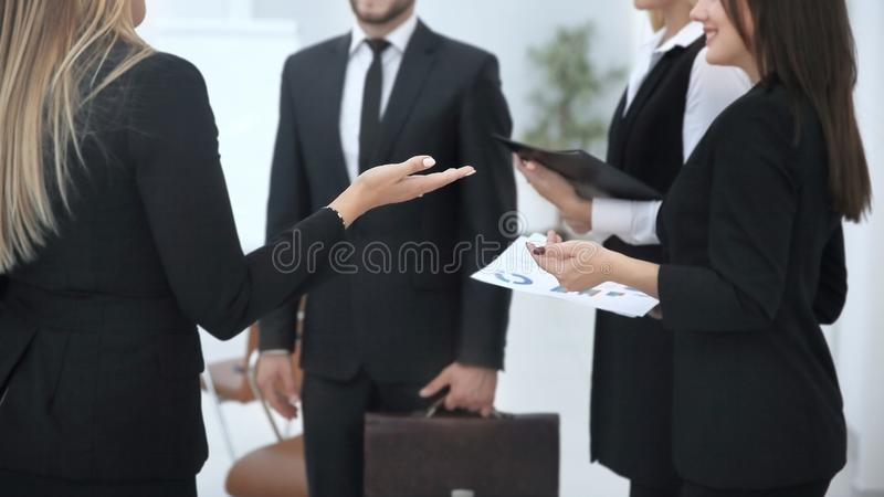 Close up.the business team talks with the investor of the new project royalty free stock image