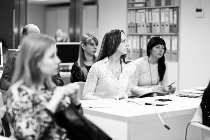 Close up. business team at the workshop. business education. black and white photo stock photo