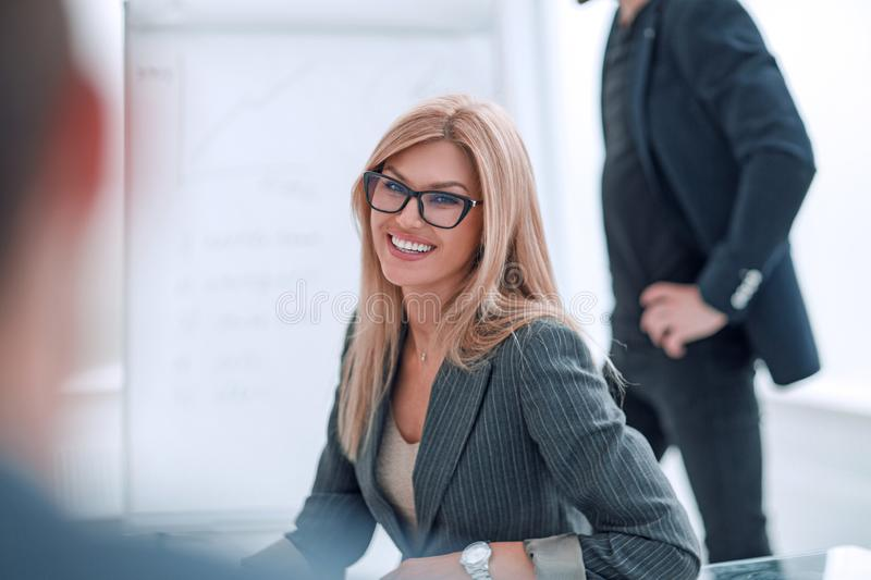 Close up. business woman at a business meeting with her business partner. stock images