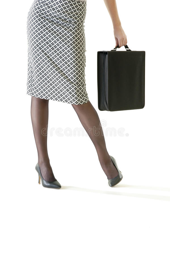Close up of business woman holding attache case royalty free stock photography