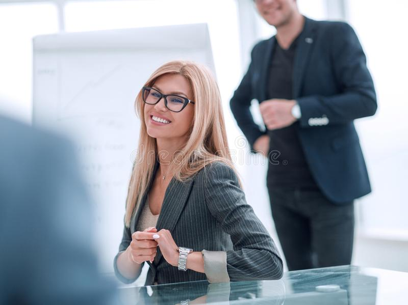 Close up. business woman at a business meeting with her business partner. royalty free stock photo