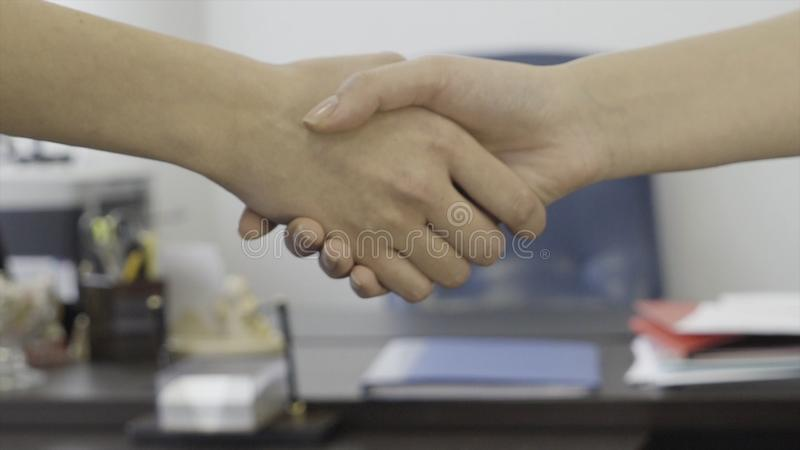 Close up for business women, partners handshaking on office furniture background. Close up for women elegant handshake royalty free stock photos