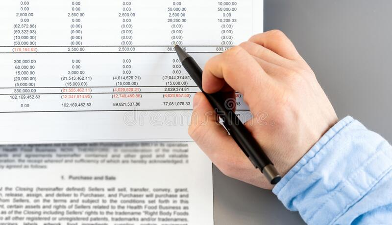 Close up businessman calculate on paper document financial data. Finance concept royalty free stock photo