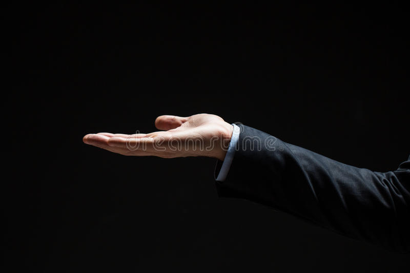 Close up of businessman with empty hand royalty free stock images