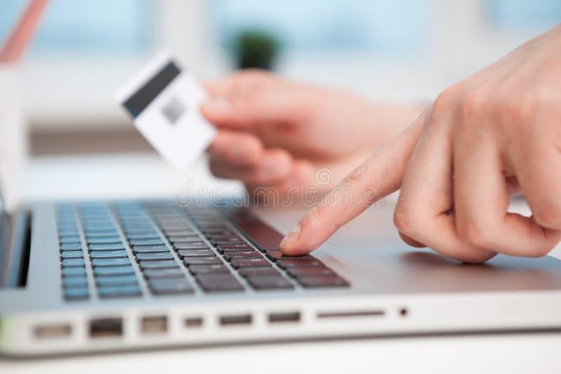 Close Up of businessman hands using laptop computer stock photo