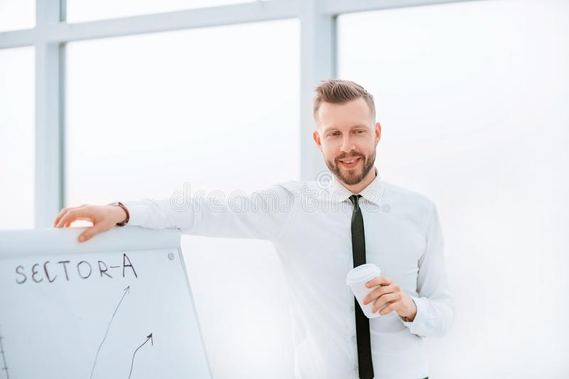 Close up. businessman makes a presentation of a new investment project stock image
