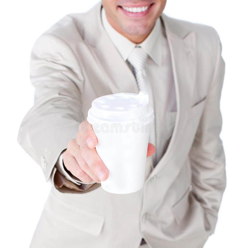 Download Close-up Of A Businessman Showing A Drinking Cup Stock Photo - Image: 12618388