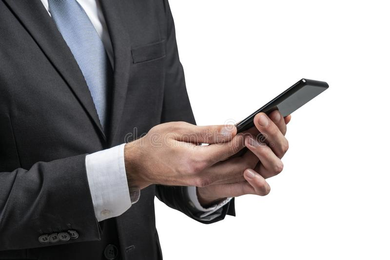 Close up of businessman using smartphone, isolated royalty free stock photography