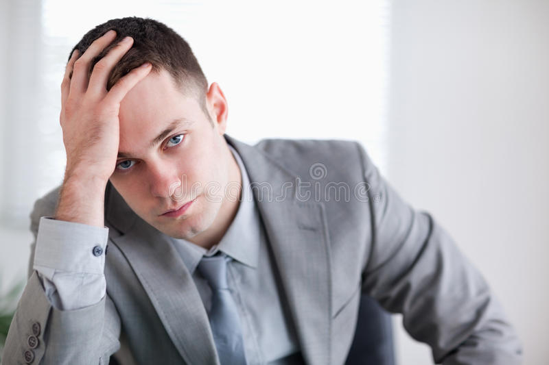 Close up of businessman who got bad news royalty free stock images