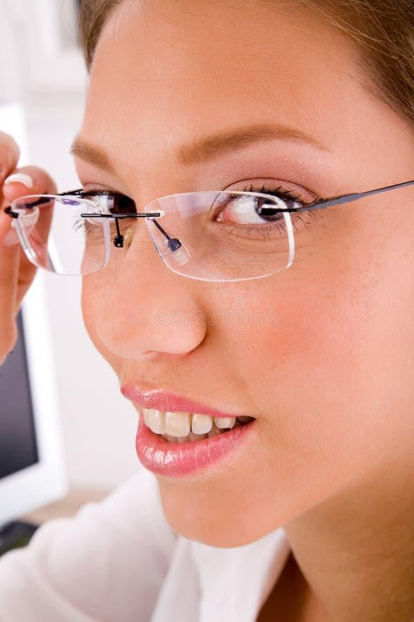 Download Close Up Of Businesswoman Holding Eyewear Stock Image - Image: 7459461