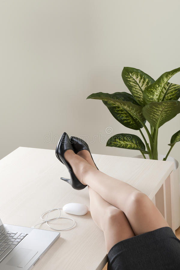 Close-up of businesswoman legs royalty free stock photo