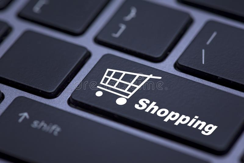 Close up button with supermarket cart icon on keyboard stock photos