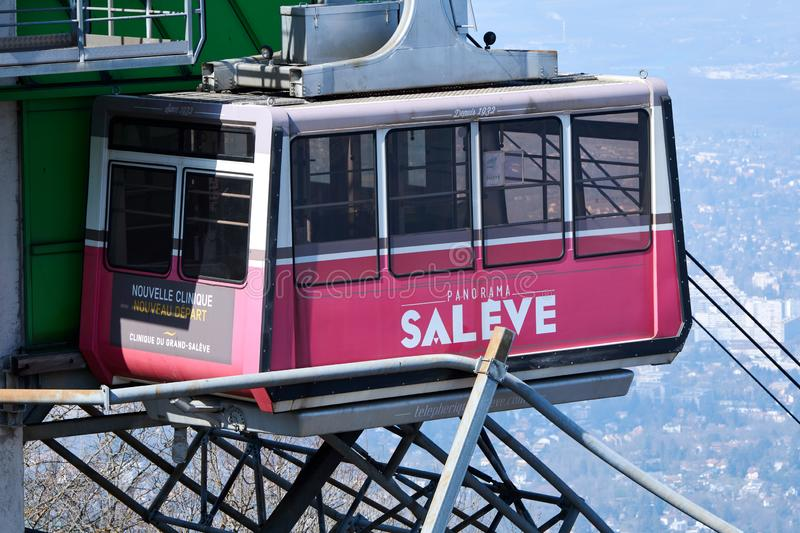 Close-up on cable car`s cabin in Salève mountain stock photo